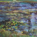 Lily Pads Reflecting Sharon Sunday Pastel 12x9 $200
