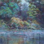 Looking at the Pond Sharon Sunday Pastel 9x12 $200