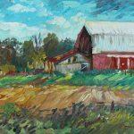 Old Barn in Norville Sharon Sunday Oil 9x12 $200
