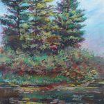 Peek Through Cascades Park Sharon Sunday Pastel 9x12 NFS