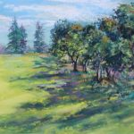 The Hill at the Park Sharon Sunday Pastel 9x12 $200