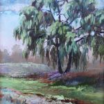 The Old Willow Tree Sharon Sunday Oil 9 x 12 NFS