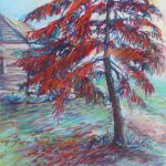 View of the Cabin Sharon Sunday Pastel 9x12 $200